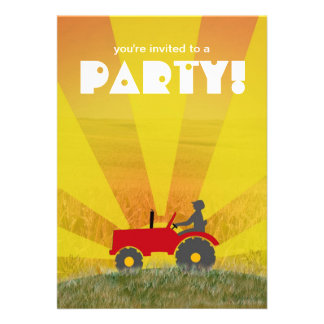Red or Green Tractor Party Invitation Choose Your