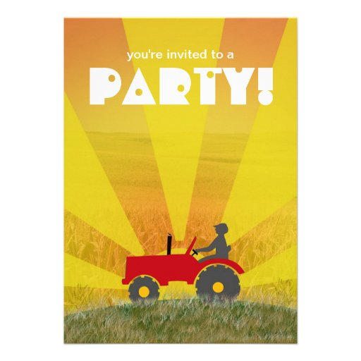 Red or Green Tractor Party Invitation: Choose Your