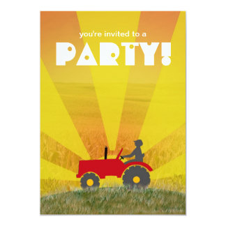 Red or Green Tractor Party Invitation: Choose Your Card