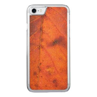 Red-Orang Autumn Leaf | Apple iPhone 7 Wood Case