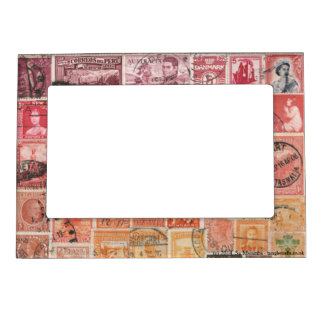 Red-Orange 1 Postage Stamp Collage, Picture Frame
