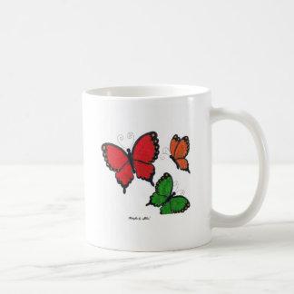 Red, orange and green butterflies mug
