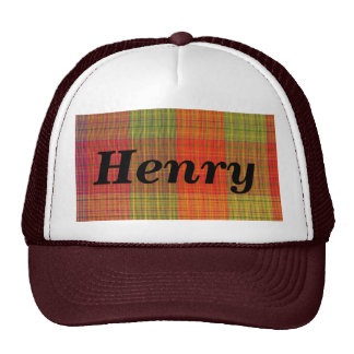 Red Orange and Green Plaid Fabric Pattern Cap