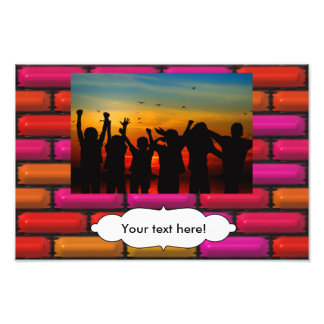 Red orange and pink 3d rectangles pattern photo
