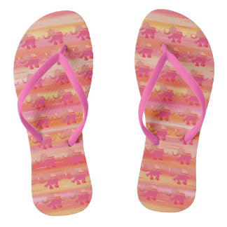 Red, Orange and Pink Striped Elephant Pattern Flip Flops