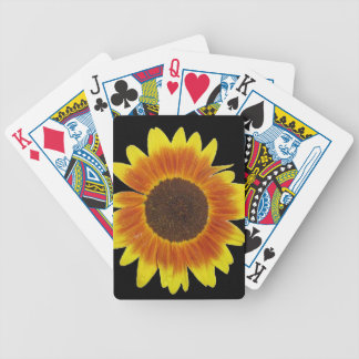 Red, orange, and yellow sunflower bicycle playing cards