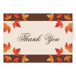 Red orange autumn leaves thank you note card