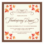 Red orange autumn leaves thanksgiving dinner custom announcement
