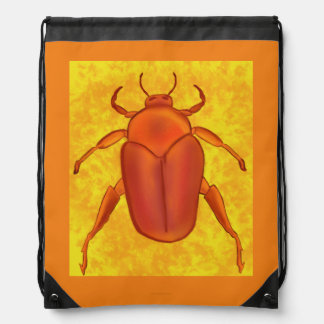 Red-Orange Beetle Drawstring Backpacks