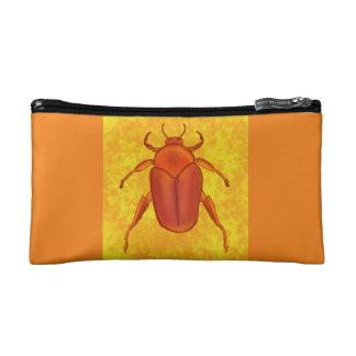 Red-Orange Beetle Makeup Bag