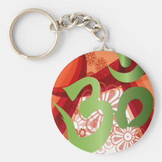 Red-Orange-Bg_Green-Om Key Ring