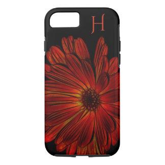 Red Orange Black Flower Monogram Iphone Case