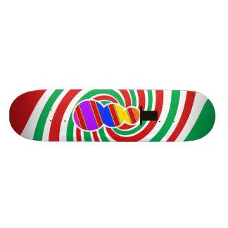 Red orange blue violet snowman on red green skateboard decks
