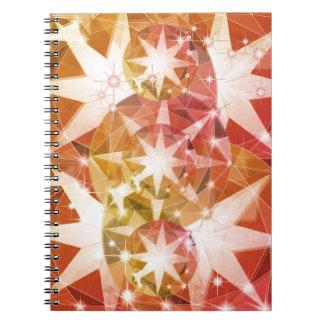 Red Orange Compass Gemstone Rhinestone Notebook