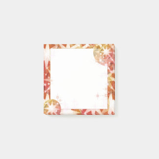 Red Orange Compass Gemstone Rhinestone Post-it Notes