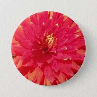 Red Orange Dahlia Flower 7.5 Cm Round Badge