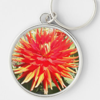 Red Orange Dahlia Flower in the Sunshine Silver-Colored Round Key Ring