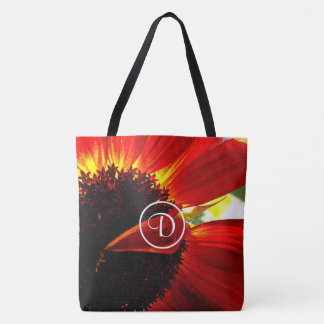 Red orange daisy photo custom monogram tote bag