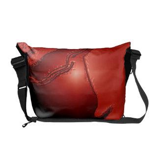 Red Orange Emboss Latex Messenger Bag