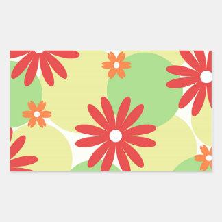 Red orange floral on green rectangular sticker