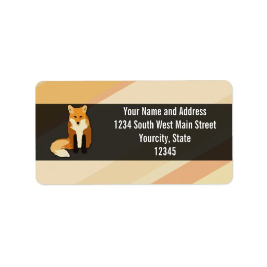 Red Orange Fox Address Label