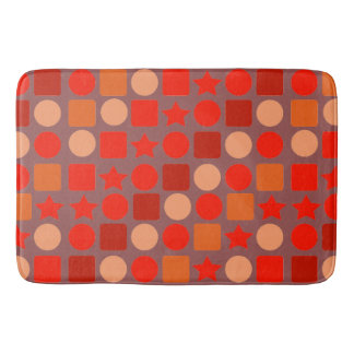 Red-Orange Geometric on Bath Mat Bath Mats