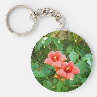 Red-Orange Horn Vine Flower Basic Round Button Key Ring