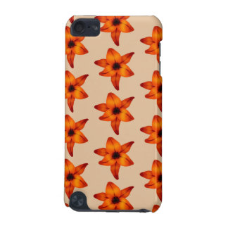 Red - Orange Lily Flowers, on Tan Color. iPod Touch (5th Generation) Case