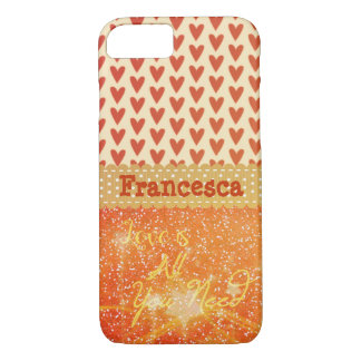 Red Orange Love is All You Need Name iPhone 7 Case