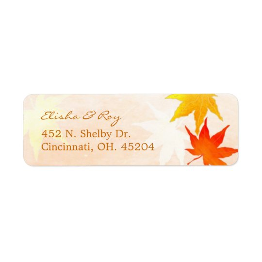 Red Orange Maple Leaves Wedding Return Address Label