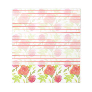 Red Orange Painted Roses Watercolor Flowers Lined Notepad