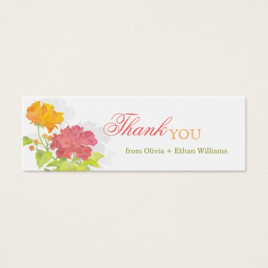 Red + Orange Peony Wedding Thank You Favour Tags