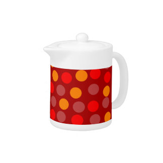 Red Orange Polka Dot Small Teapot