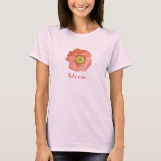 Red Orange Poppy Watercolor Flower Bloom T-Shirt