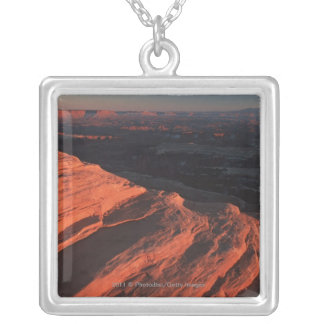 Red Orange Rock Side In Utah Silver Plated Necklace