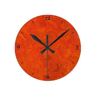 Red Orange Tonal Abstract Swirled Background Round Clock