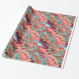 Red, Orange & Turquoise Marbled Pattern Wrapping Paper