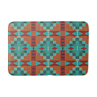 Red Orange Turquoise Teal Eclectic Ethnic Art Bath Mat