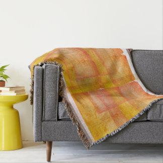 Red Orange Watercolor Silk Screen Print Pattern Throw Blanket