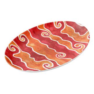 Red Orange Waves Porcelain Serving Platter