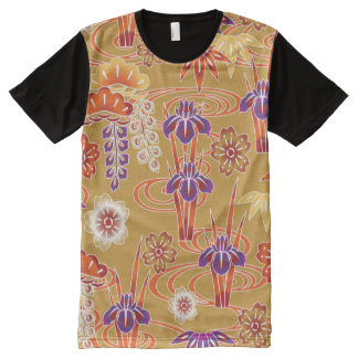 Red Orange White Fine Japanese Floral Pattern All-Over Print T-Shirt