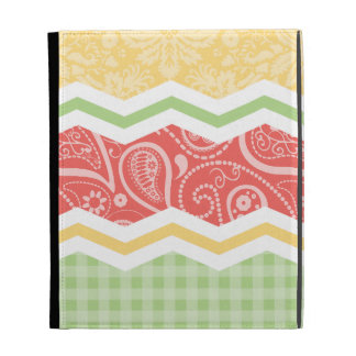 Red-Orange, Yellow, and Green Country Patterns iPad Folio Case