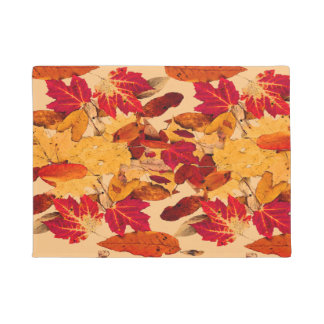 Red Orange Yellow Brown Autumn Leaves Doormat