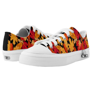 Red Orange Yellow Brown Autumn Leaves Printed Shoes