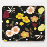 Red Orange Yellow Fine Japanese Floral Kimono Mouse Pad