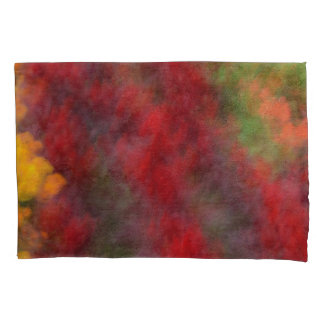 Red Orange Yellow Green Abstract Flowers Photo Art Pillowcase