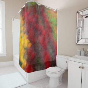 Red Orange Yellow Green Abstract Flowers Photo Art Shower Curtain