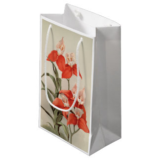 Red orchid Disa Uniflora floral art gift bag