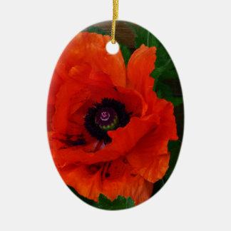 Red Oriental Poppy Christmas Ornament