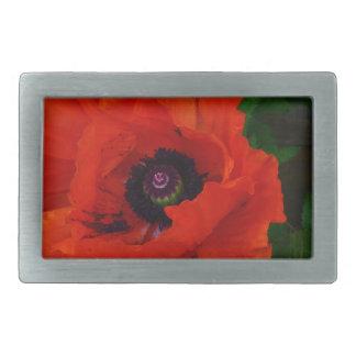Red Oriental Poppy Rectangular Belt Buckle